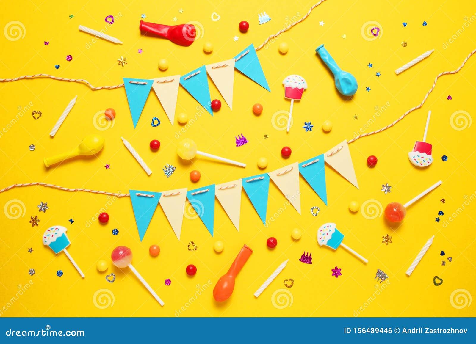 Colorful happy birthday decor for children party. Invitation