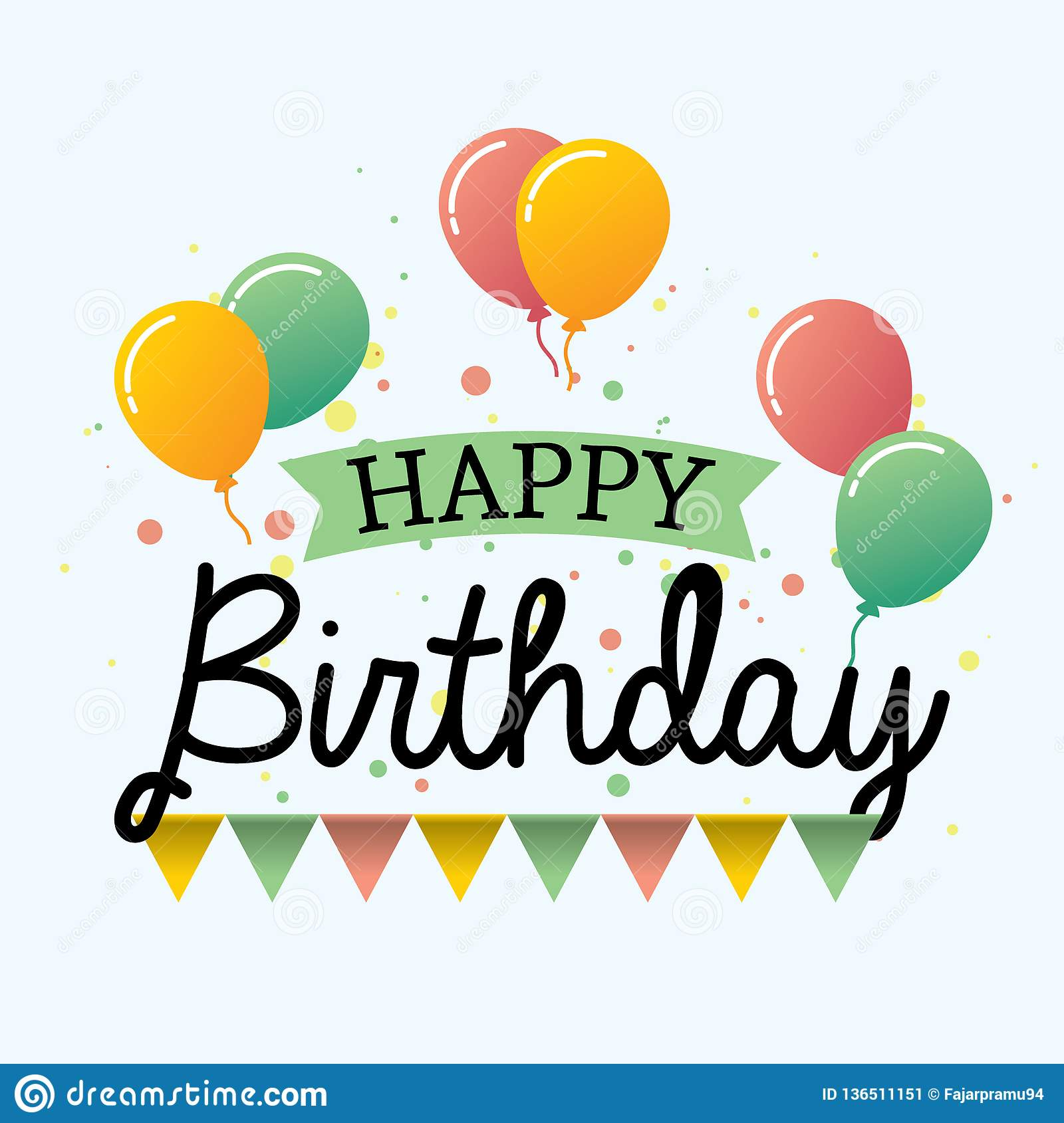 colorful happy birthday vector design greeting card with