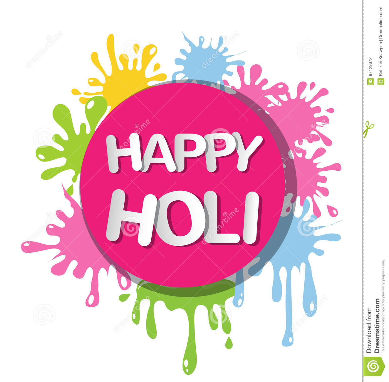Colorful For Happy Holi Invitation And Greeting Card Stock
