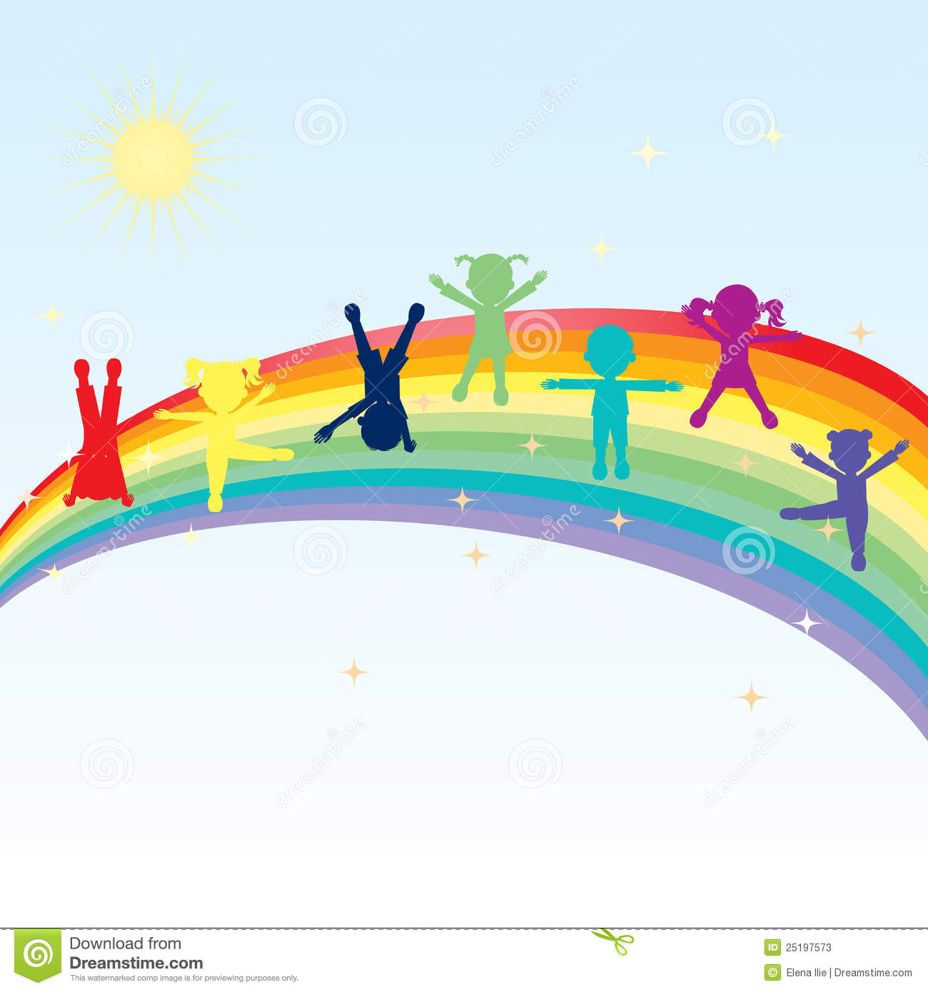 Colorful Happy Kids Standing On A Rainbow Stock Illustration ...