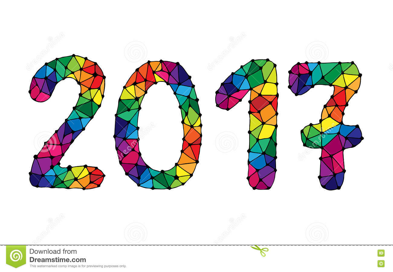 Colorful Happy New Year 2017 Calendar Cover Stock Vector