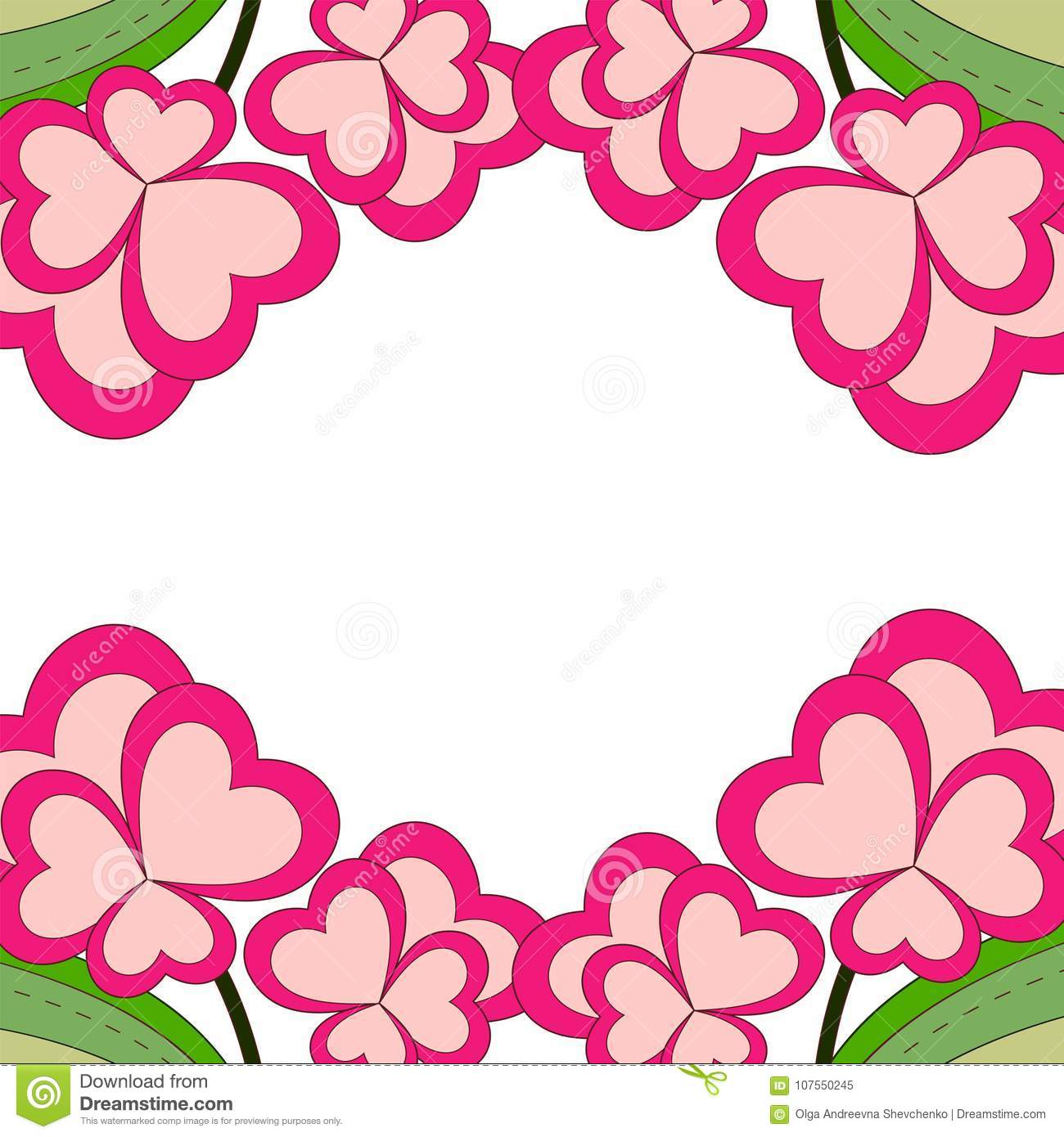 colorful heart flower plant border frame close up view