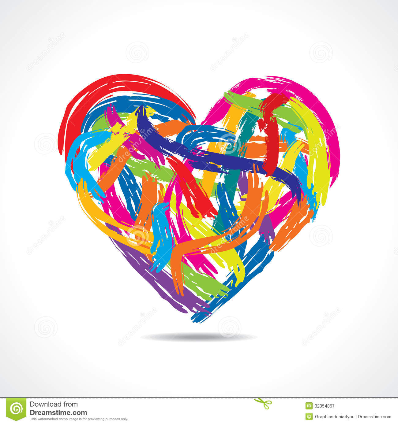Colorful Heart With Paint Strokes Royalty Free Stock Photography ...