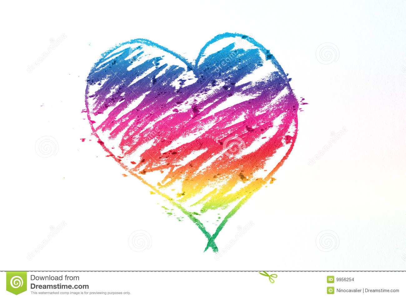 Colorful Heart Pastel Sticks Doodle Stock Photo Image Of