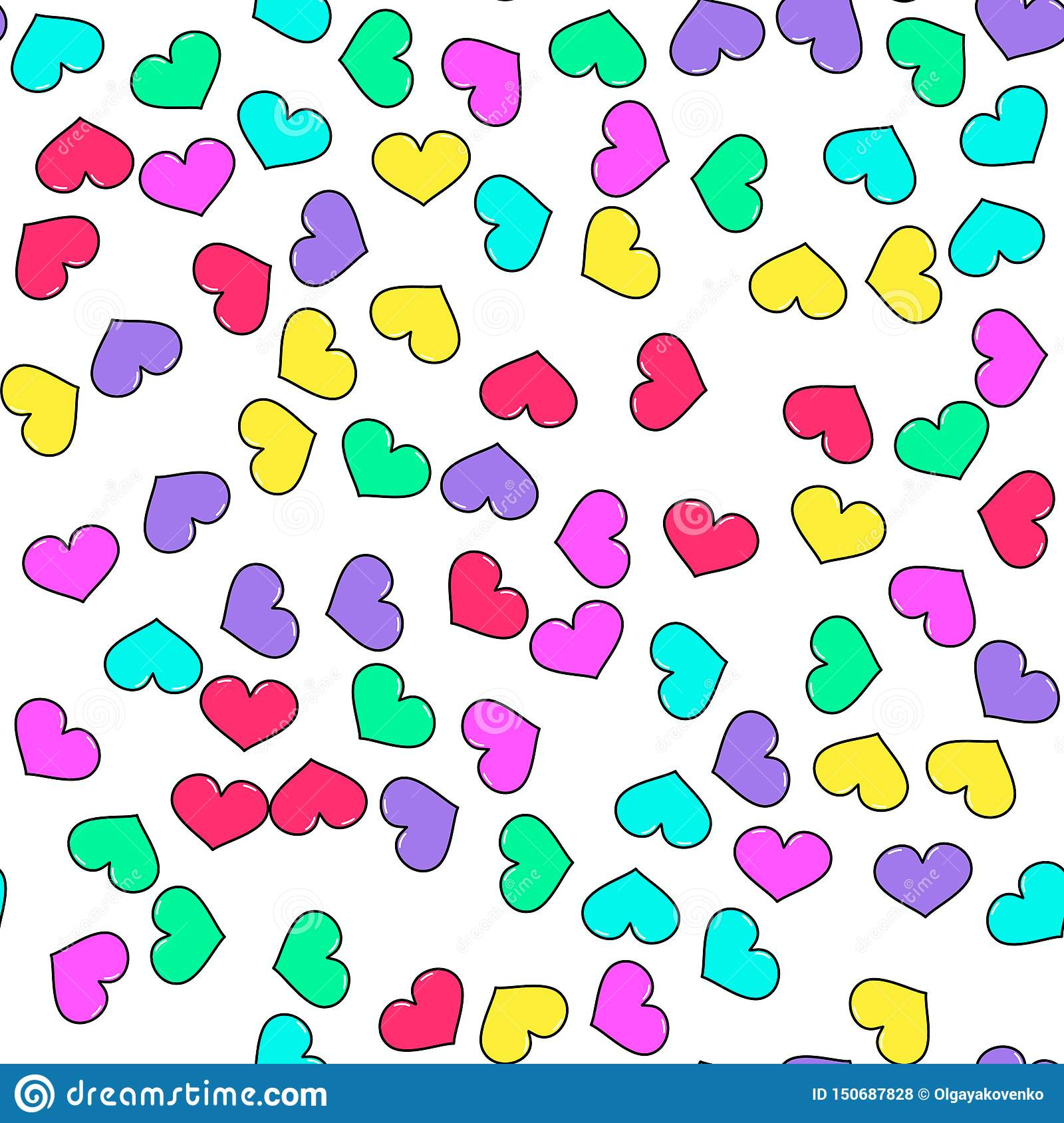 Colorful heart seamless pattern on white background. Paper print design. Abstract retro vector illustration. Trendy textile,