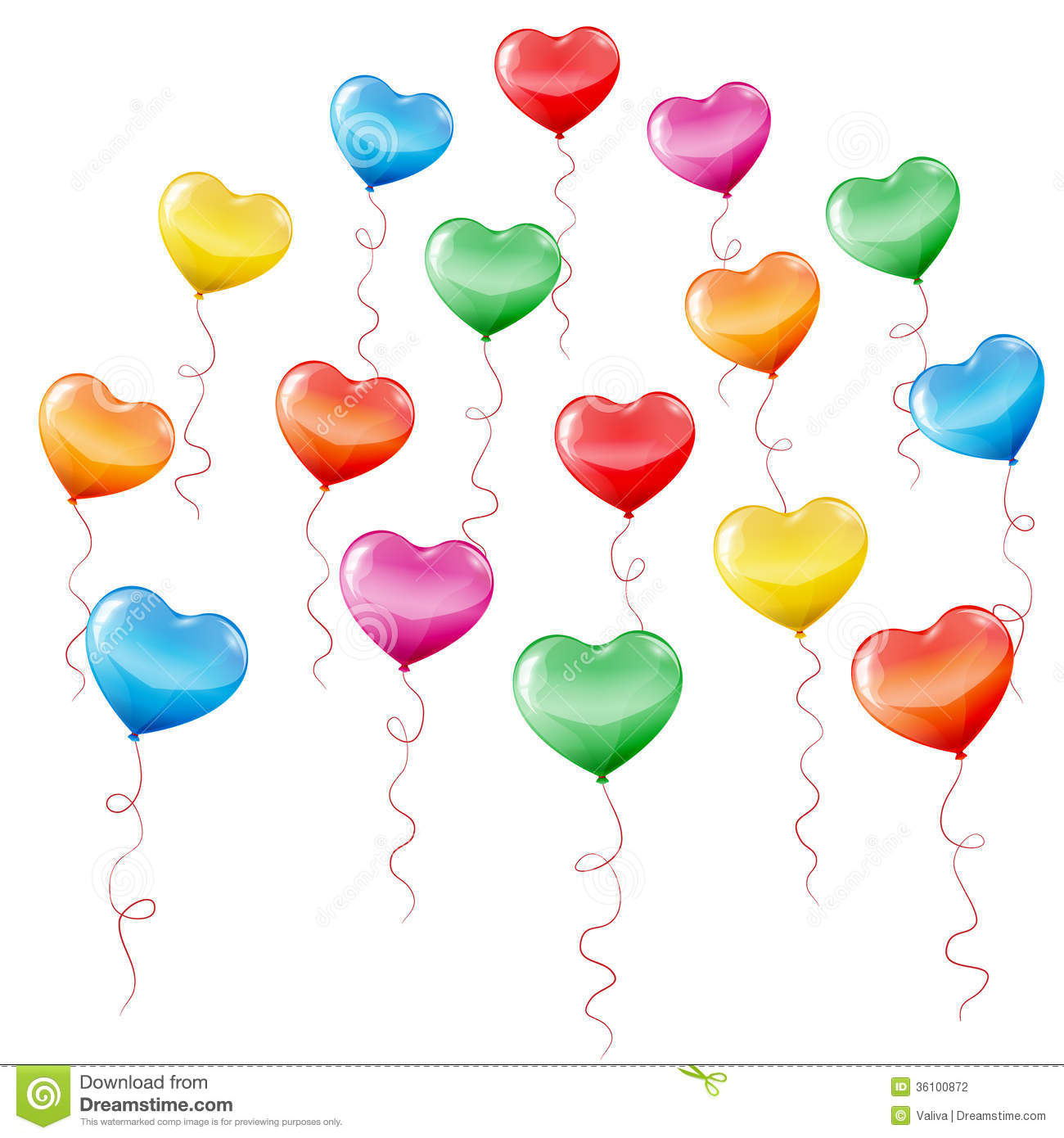 Colorful Heart Shaped Balloons Stock Photography - Image: 36100872