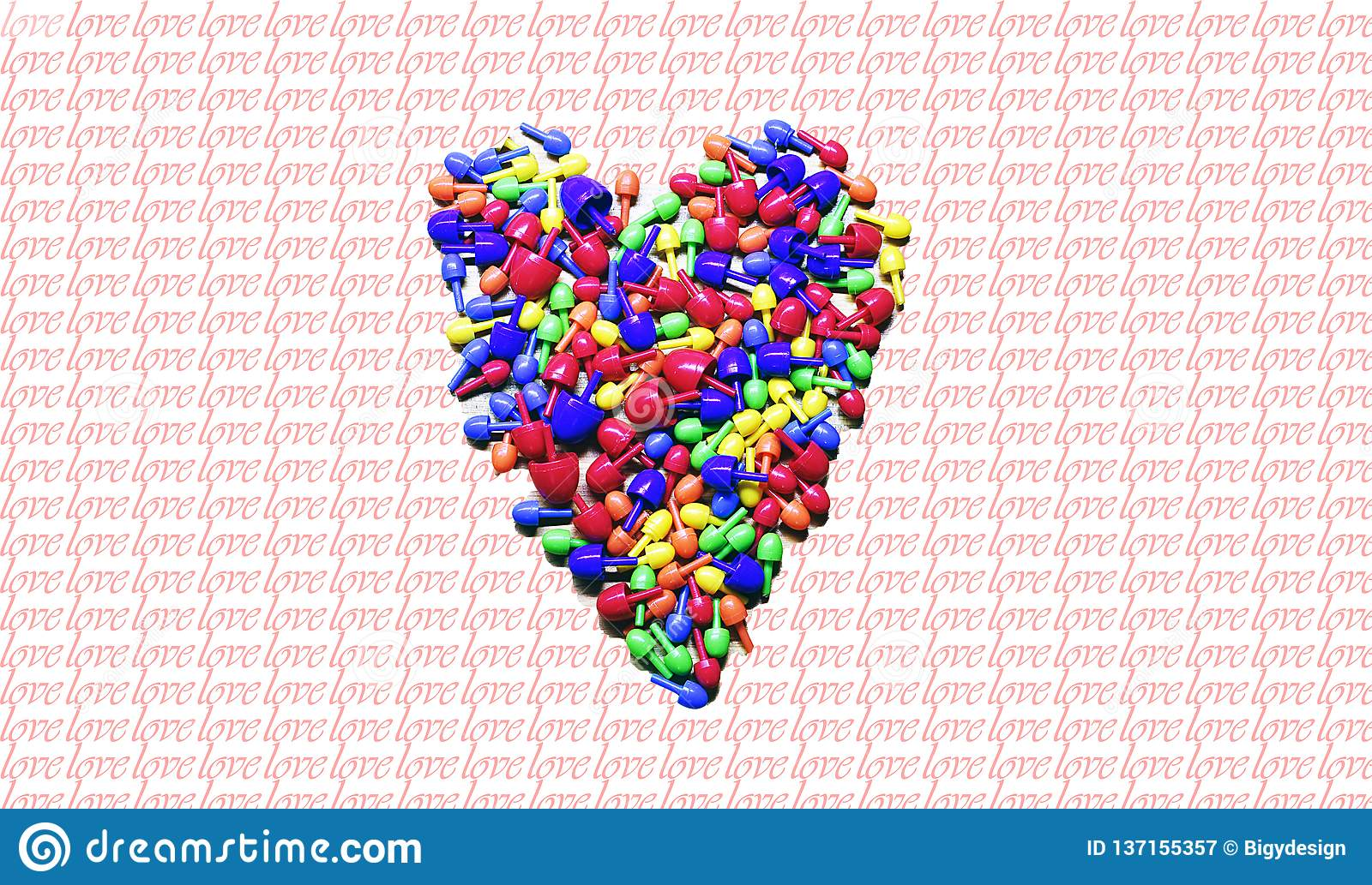Colorful heart ove, valentin`s