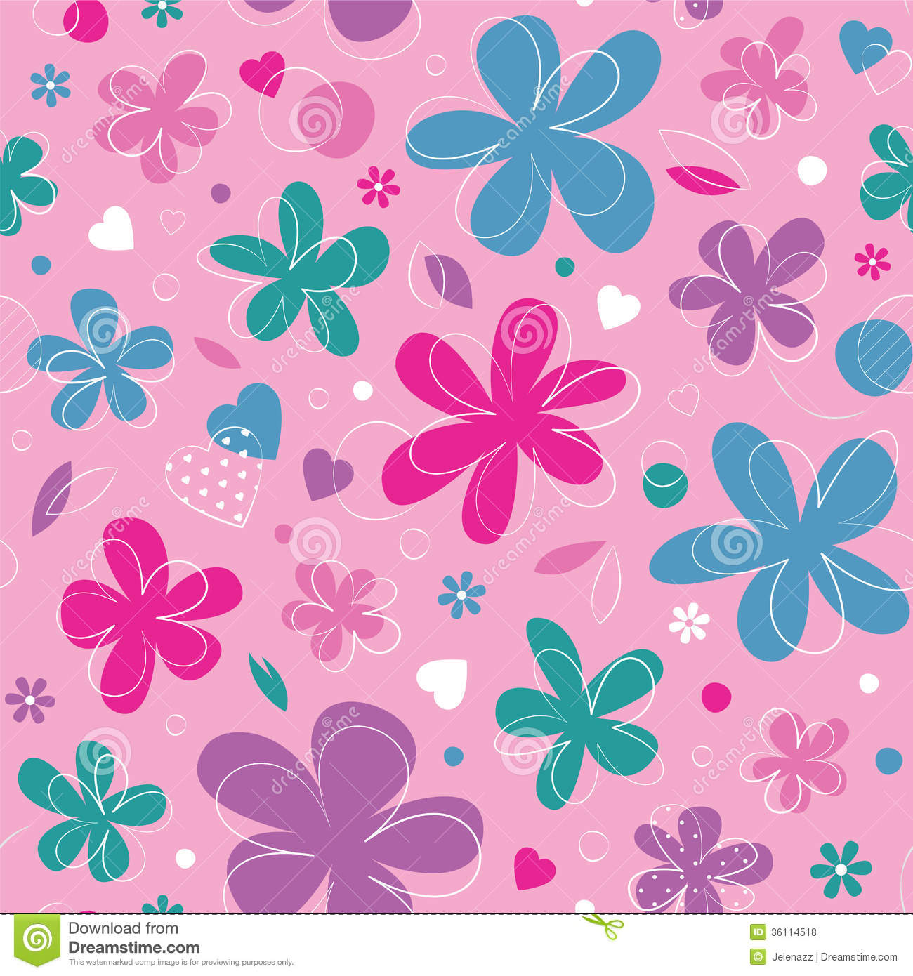 Colorful hearts and flowers background stock vector illustration colorful hearts and flowers background mightylinksfo