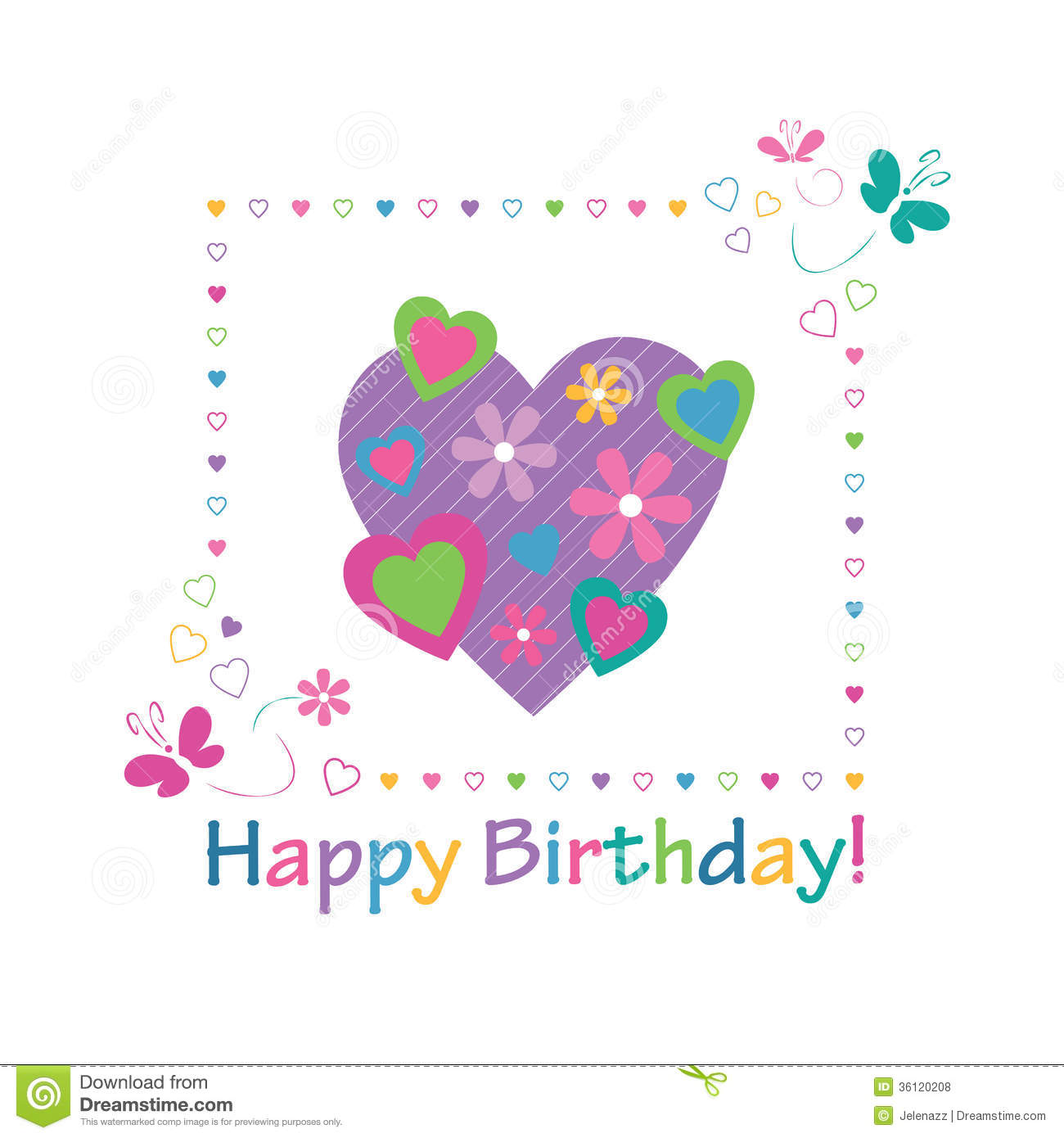 Colorful Hearts Happy Birthday Card Royalty Free Stock
