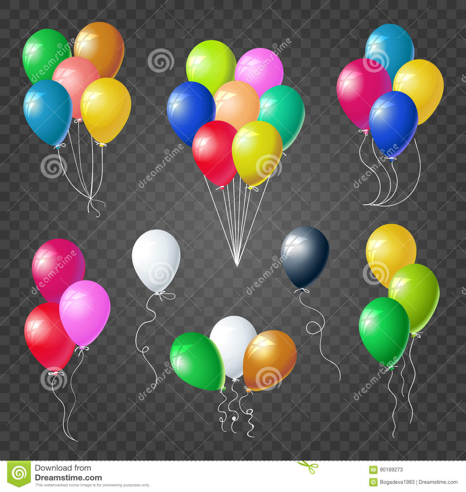 colorful helium balloons set on transparent background. Black Bedroom Furniture Sets. Home Design Ideas