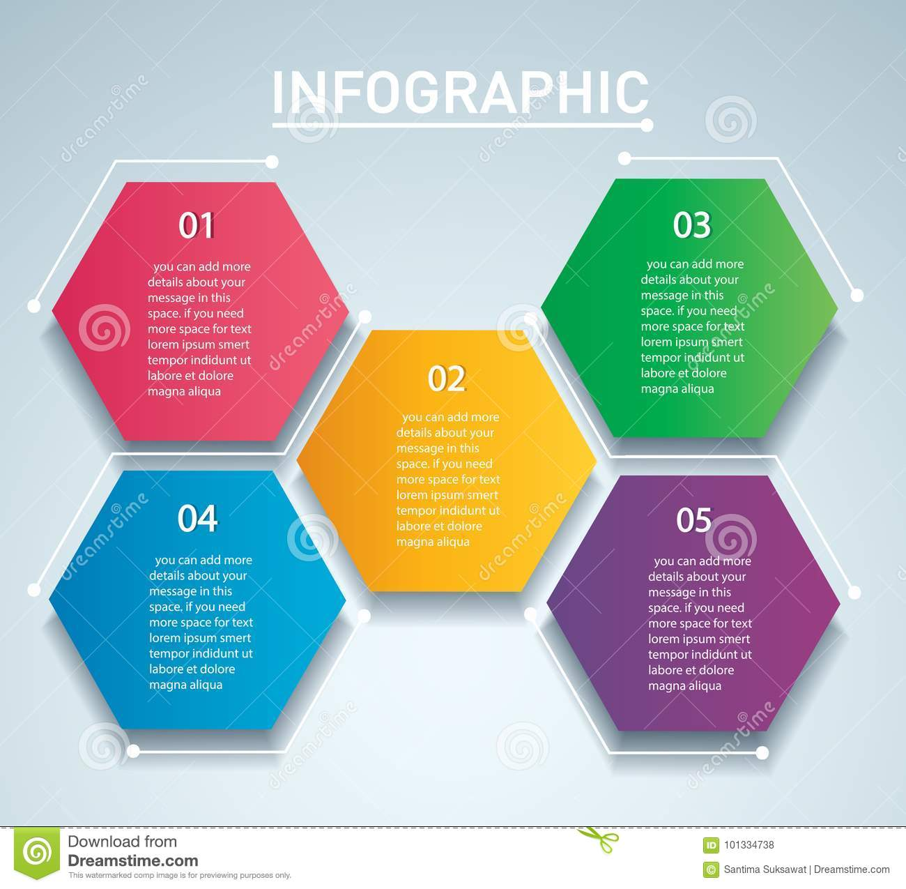 colorful hexagon infographic vector template with 5 options can be