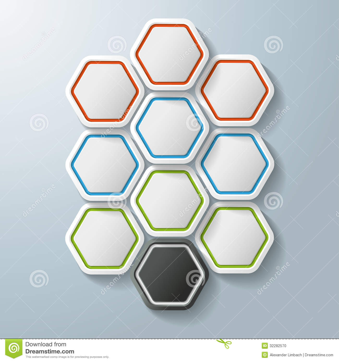 Infographic design on the grey background eps 10 vector file - 10 Colorful Hexagon Options Stock Photo Image 32282570