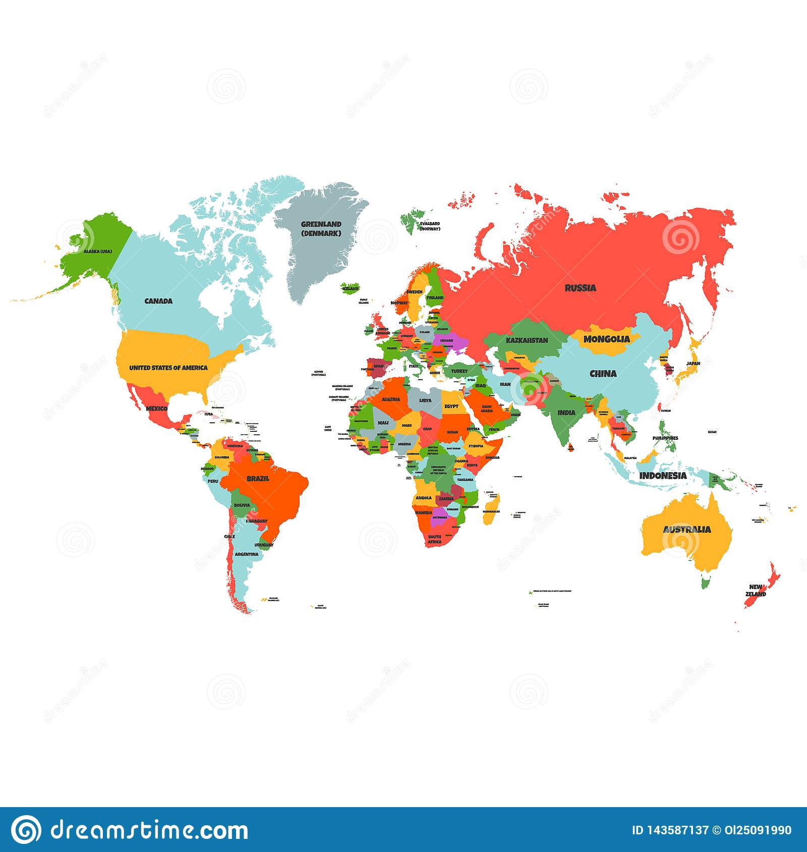 World Map With Names Colorful Hi Detailed Vector World Map Complete With All Countries