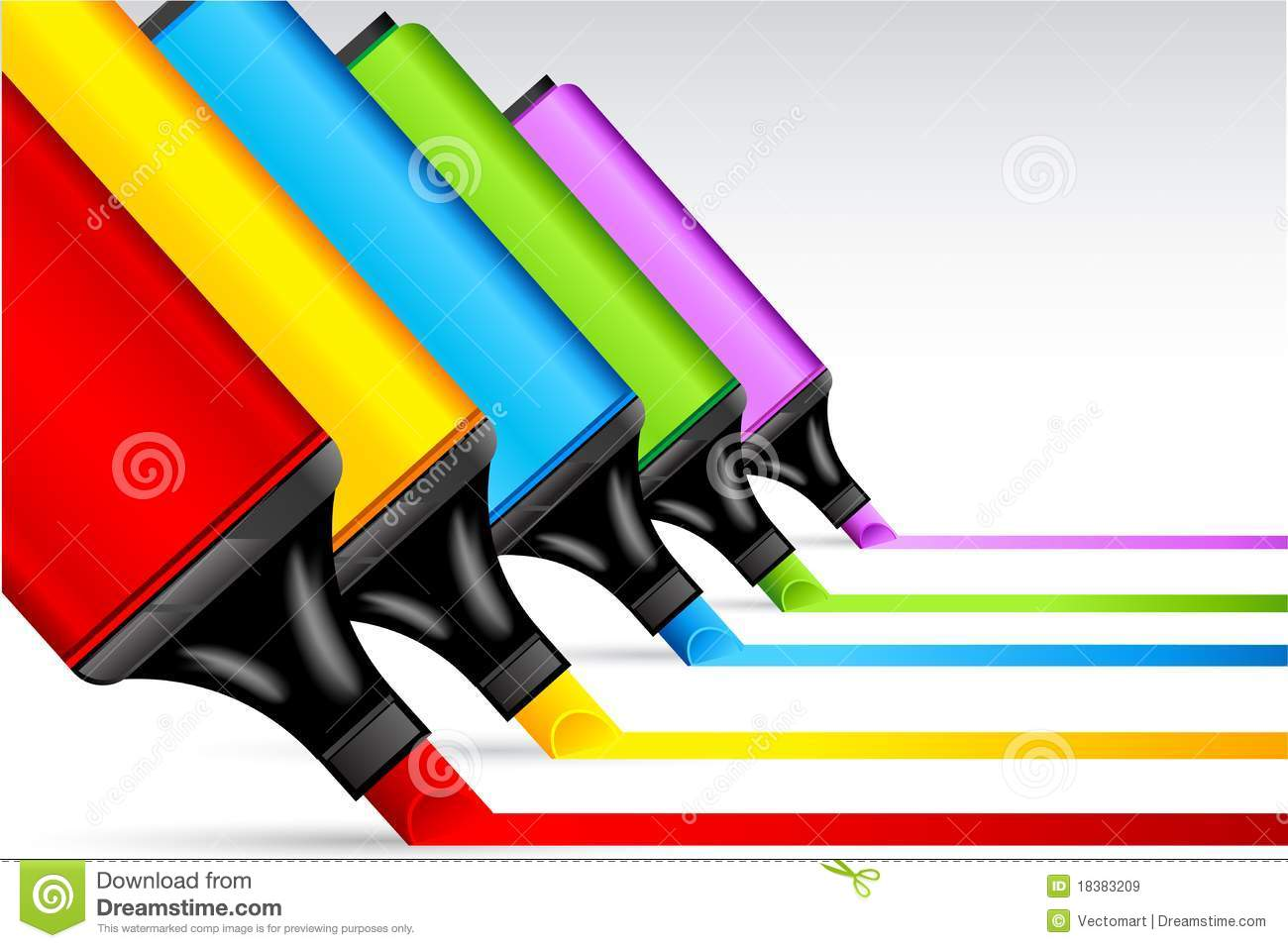 Colorful Highlighter Pen Royalty Free Stock Images - Image: 18383209
