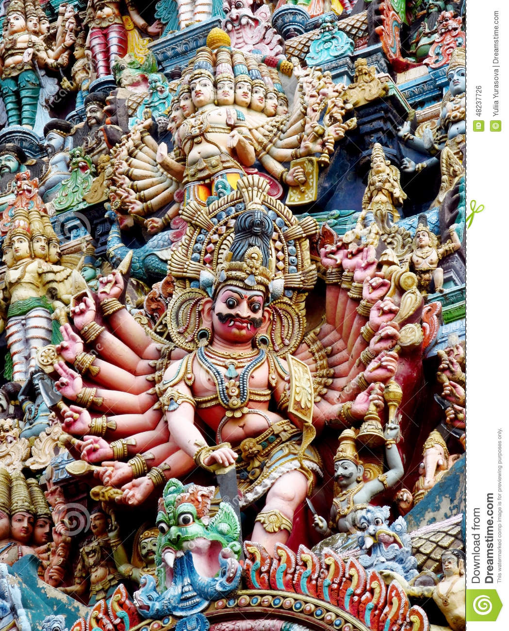 Colorful hindu statues on temple walls