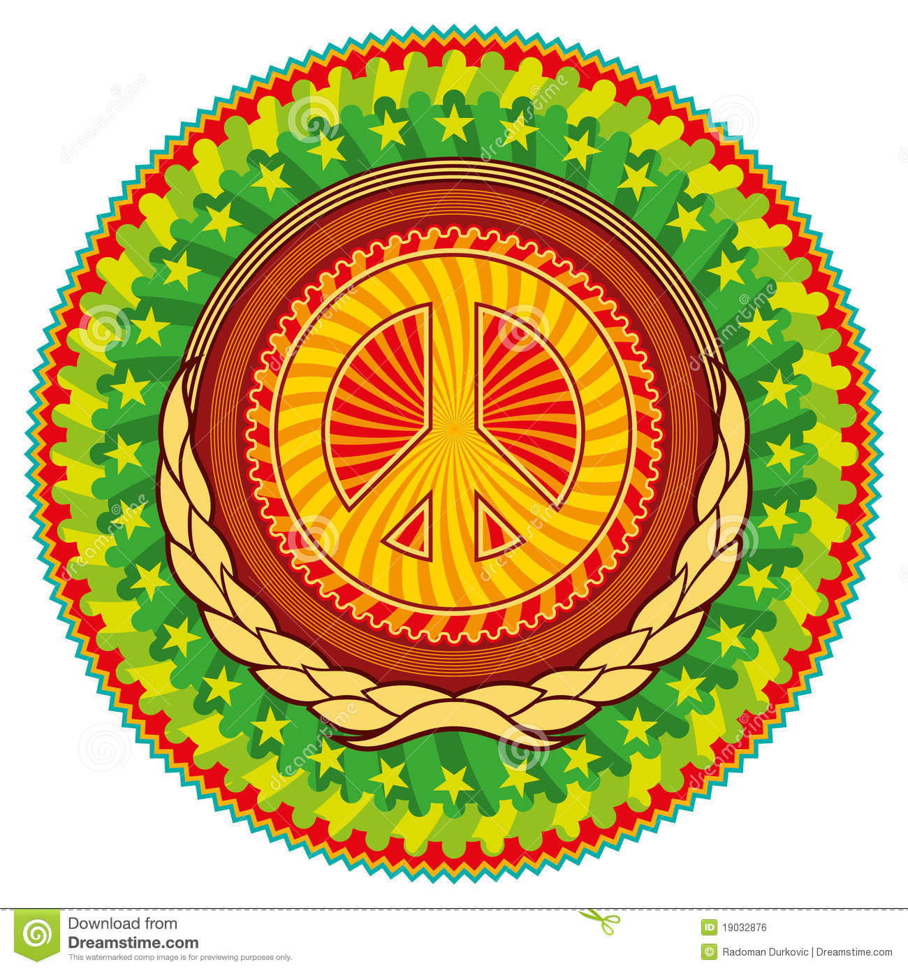 Colorful Hippie Emblem. Royalty Free Stock Image - Image: 19032876