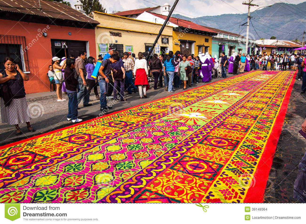 Colorful holy week carpet in antigua guatemala editorial stock image