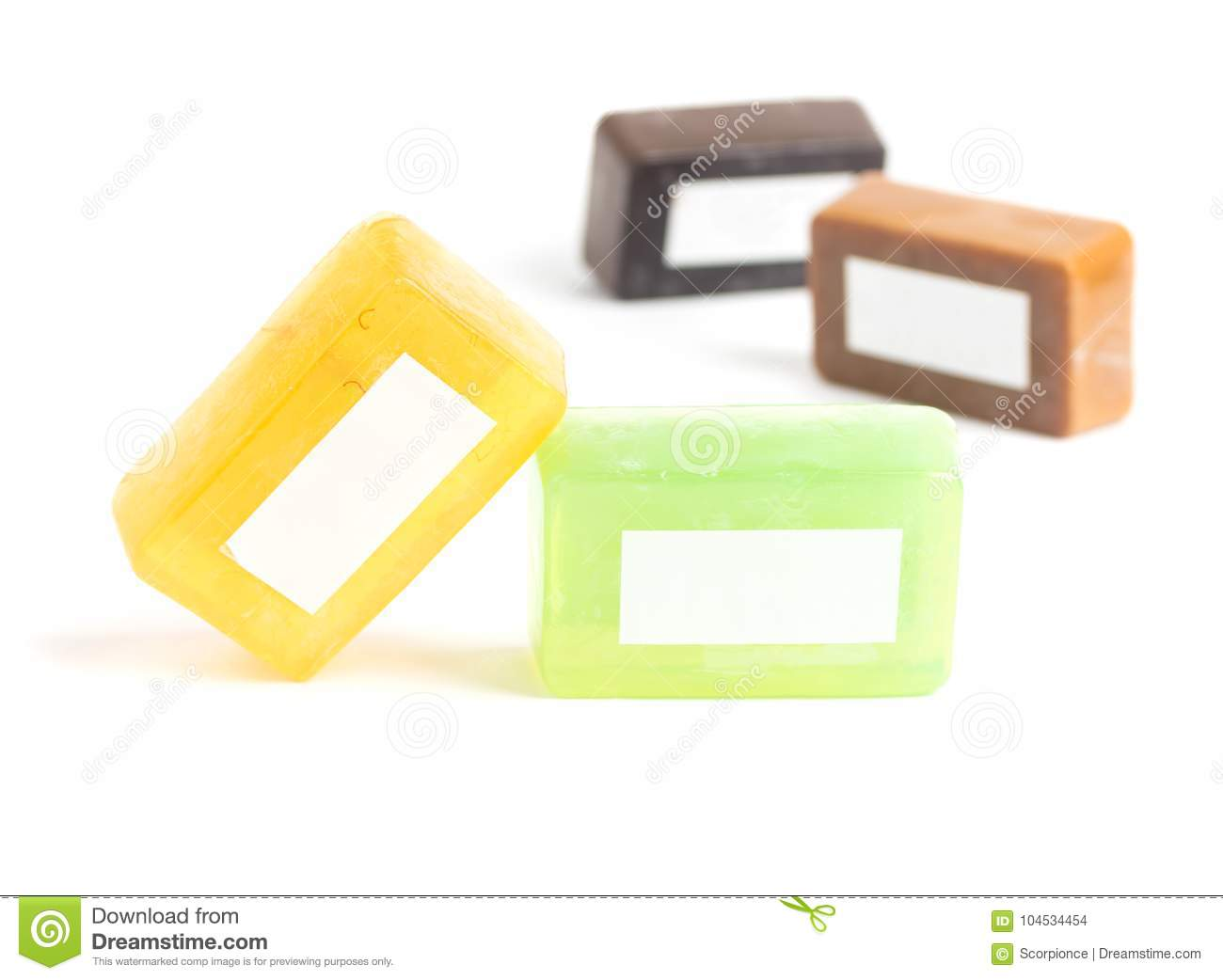 Colorful Homemade Soap Bars On White With Blank Label Mock