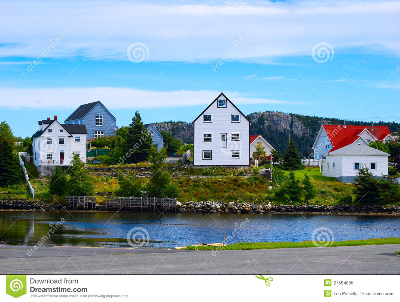 Colorful homes in newfoundland royalty free stock photo for Newfoundland houses