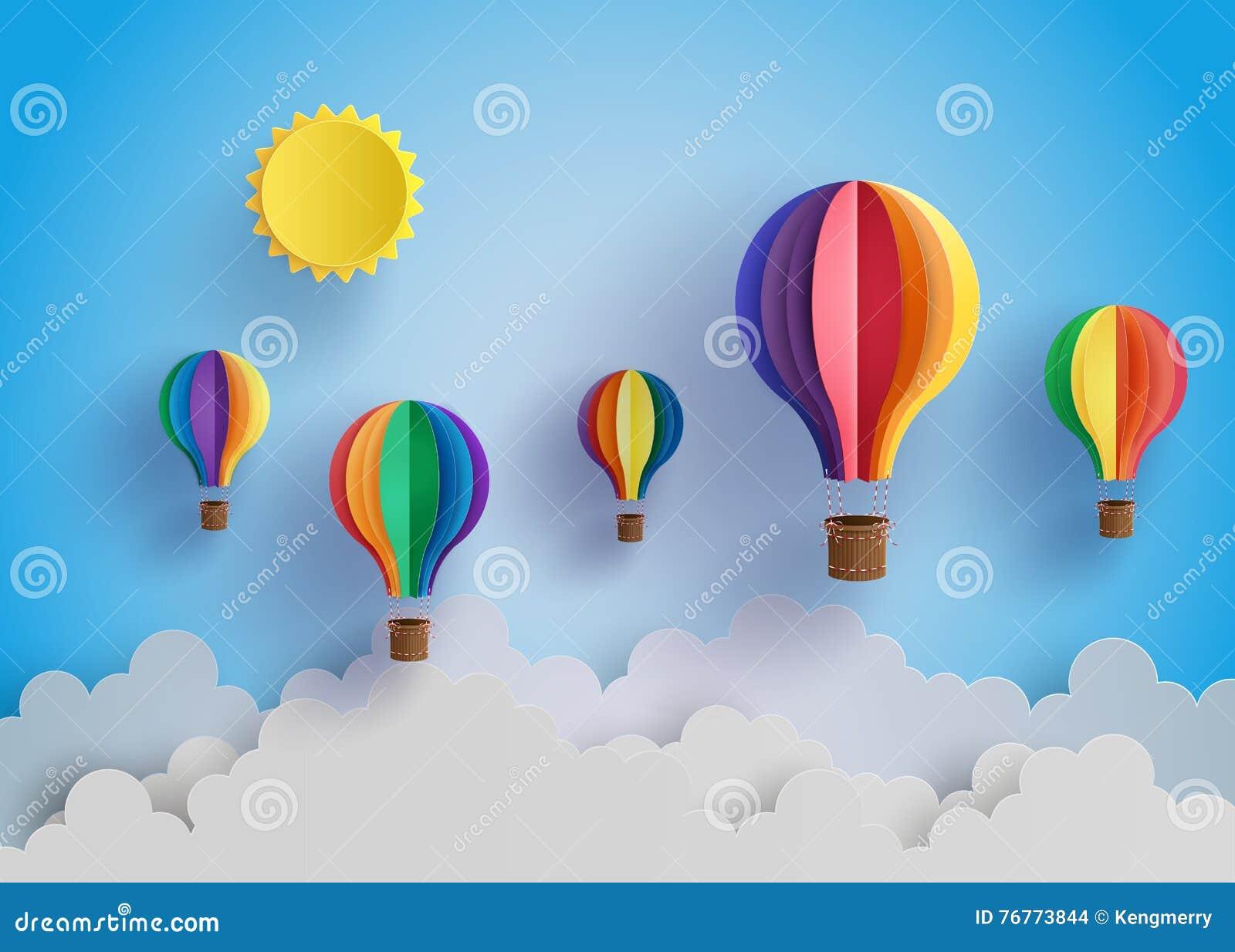 Colorful hot air balloon and cloud stock vector illustration of colorful hot air balloon and cloud jeuxipadfo Choice Image