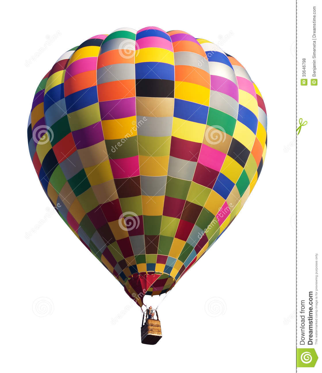 Colorful Hot Air Balloon Isolated On White Stock Photo ...