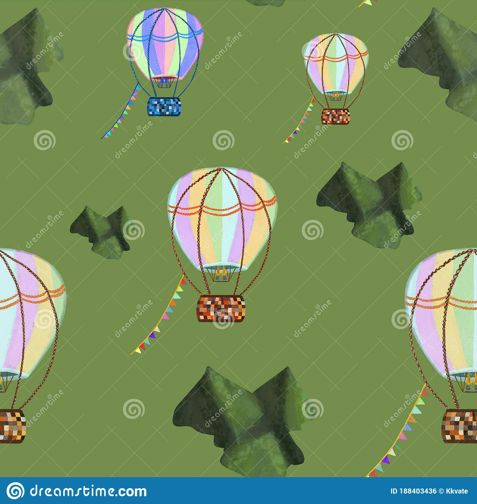 Colorful Hot Air Balloons Flying Across Green Mountains On Green Background Seamless Pattern Stationery Transport Travel Kids Stock Illustration Illustration Of Blue Print 188403436