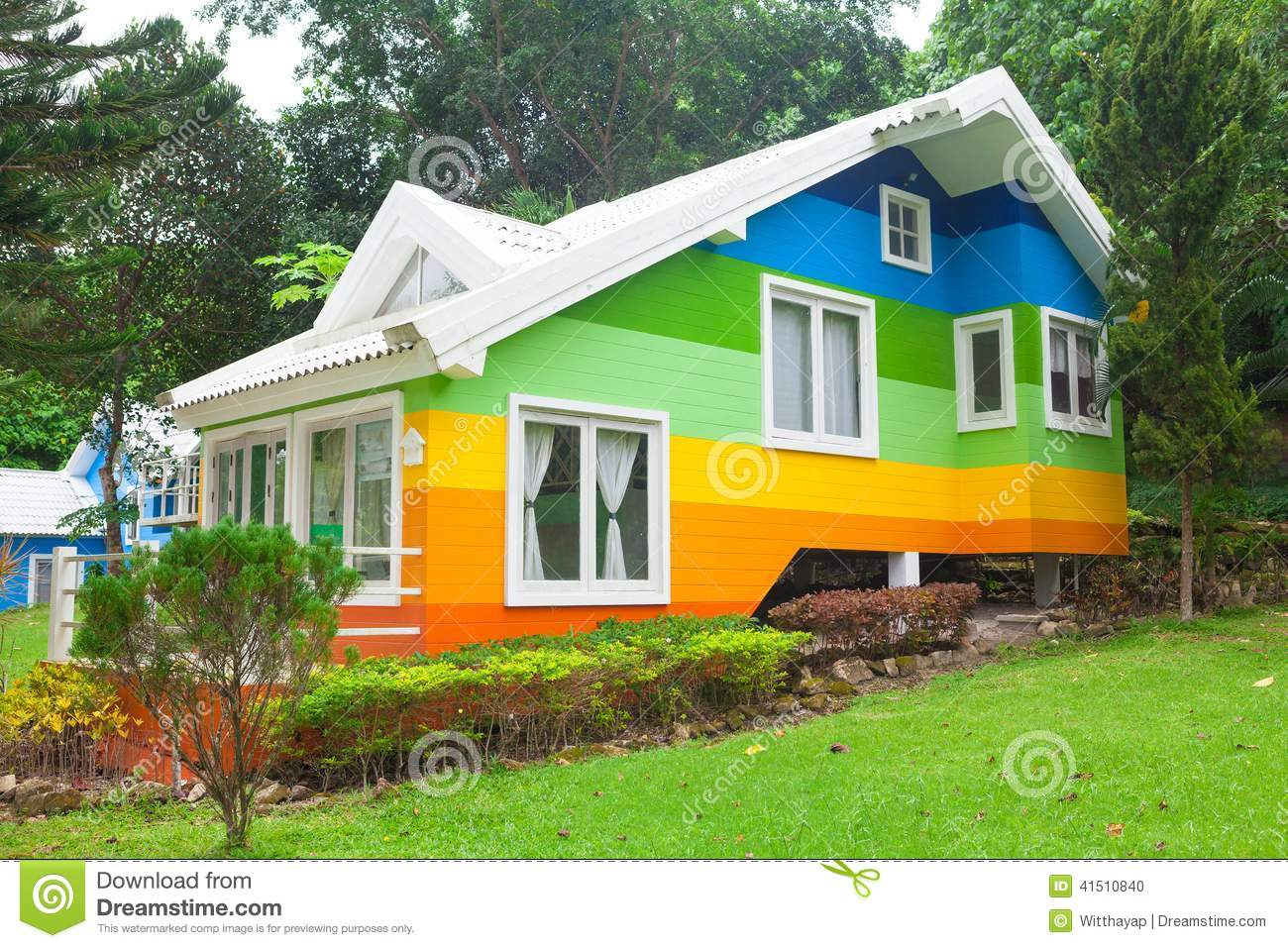colorful house in forest stock photo image of cottage
