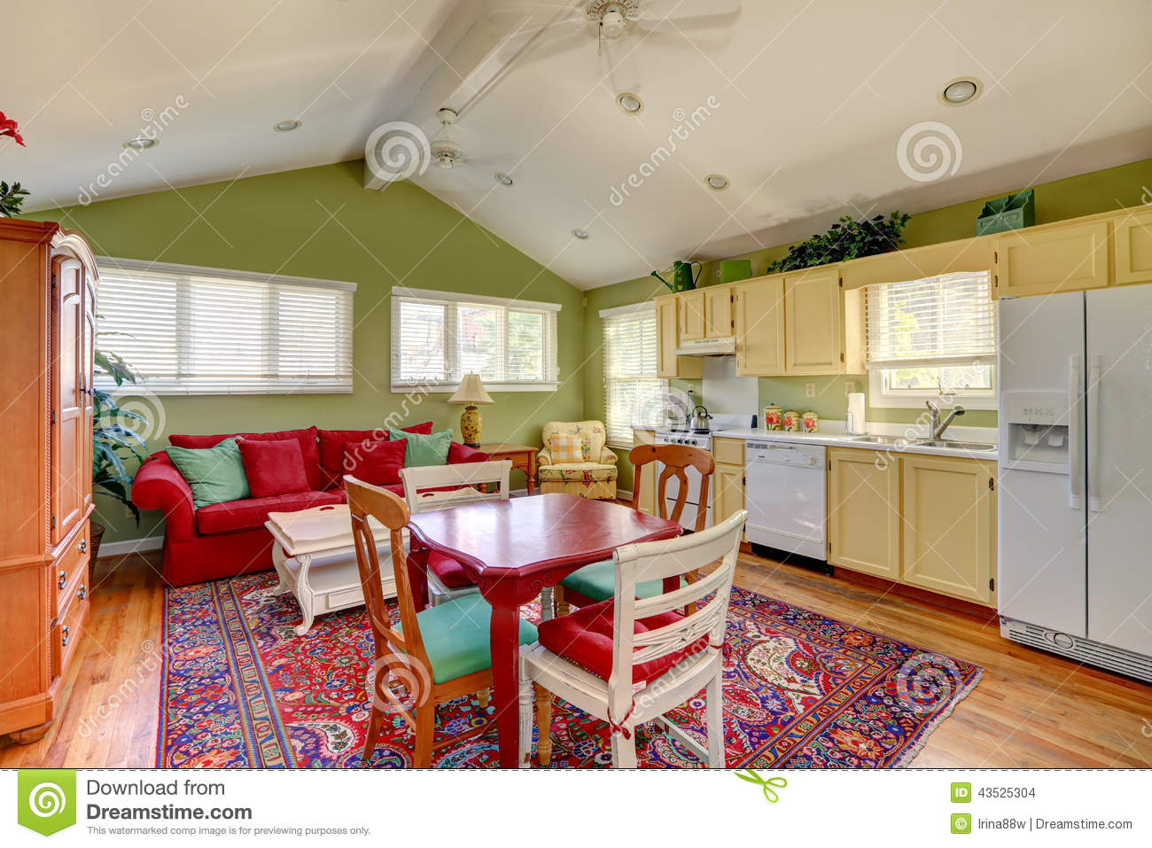 colorful house interior in old house stock photo image 43525304. Black Bedroom Furniture Sets. Home Design Ideas