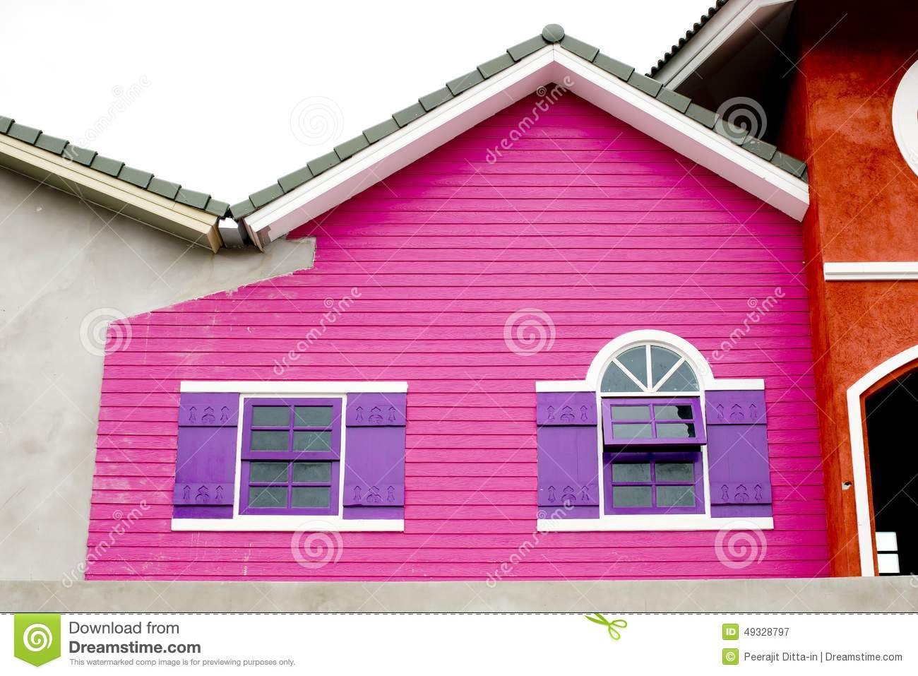 Colorful House, Pink And Violet Color Of Wood House. Stock Image ...