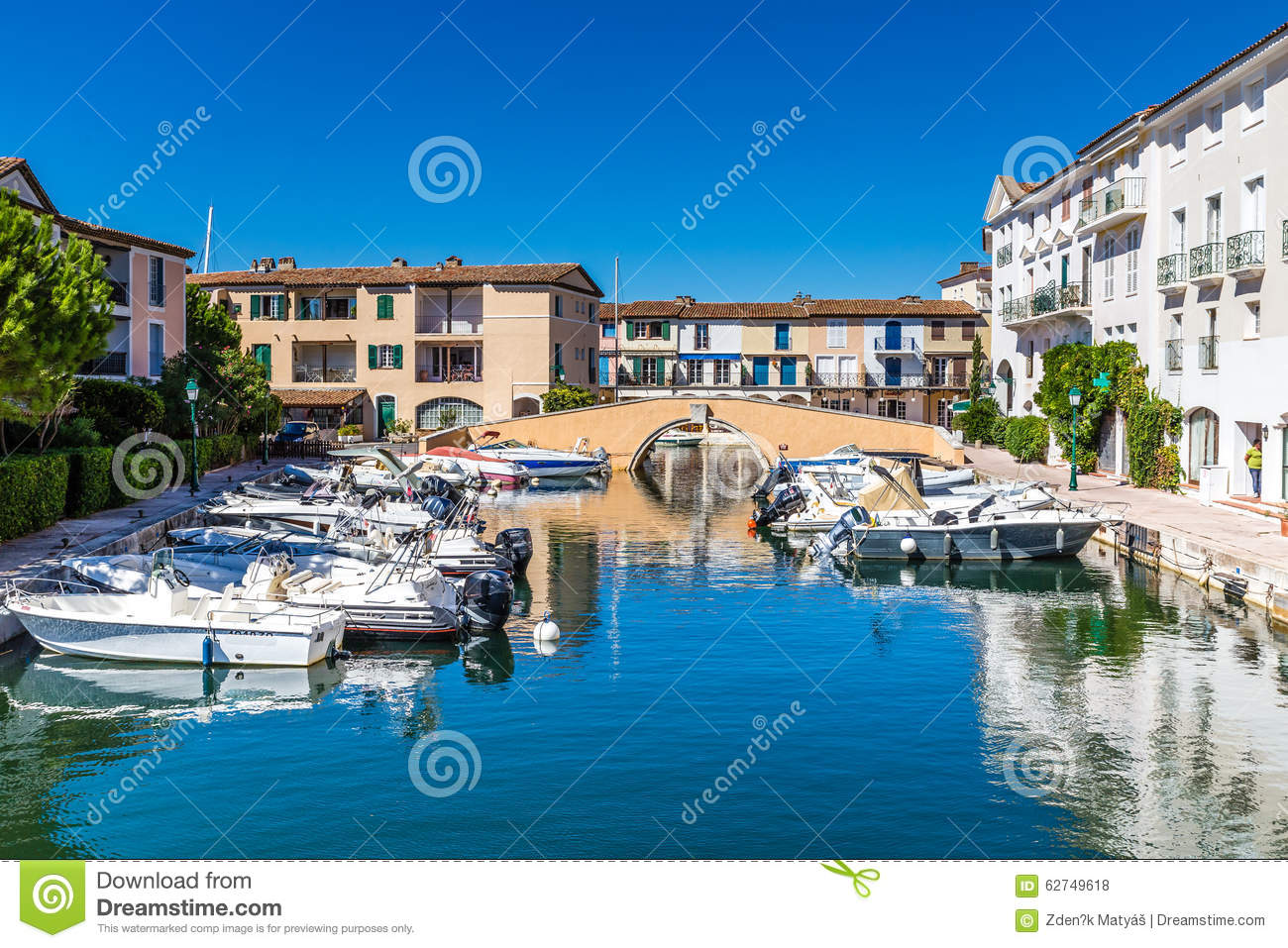 Colorful Houses And Boats In Port Grimaud-France