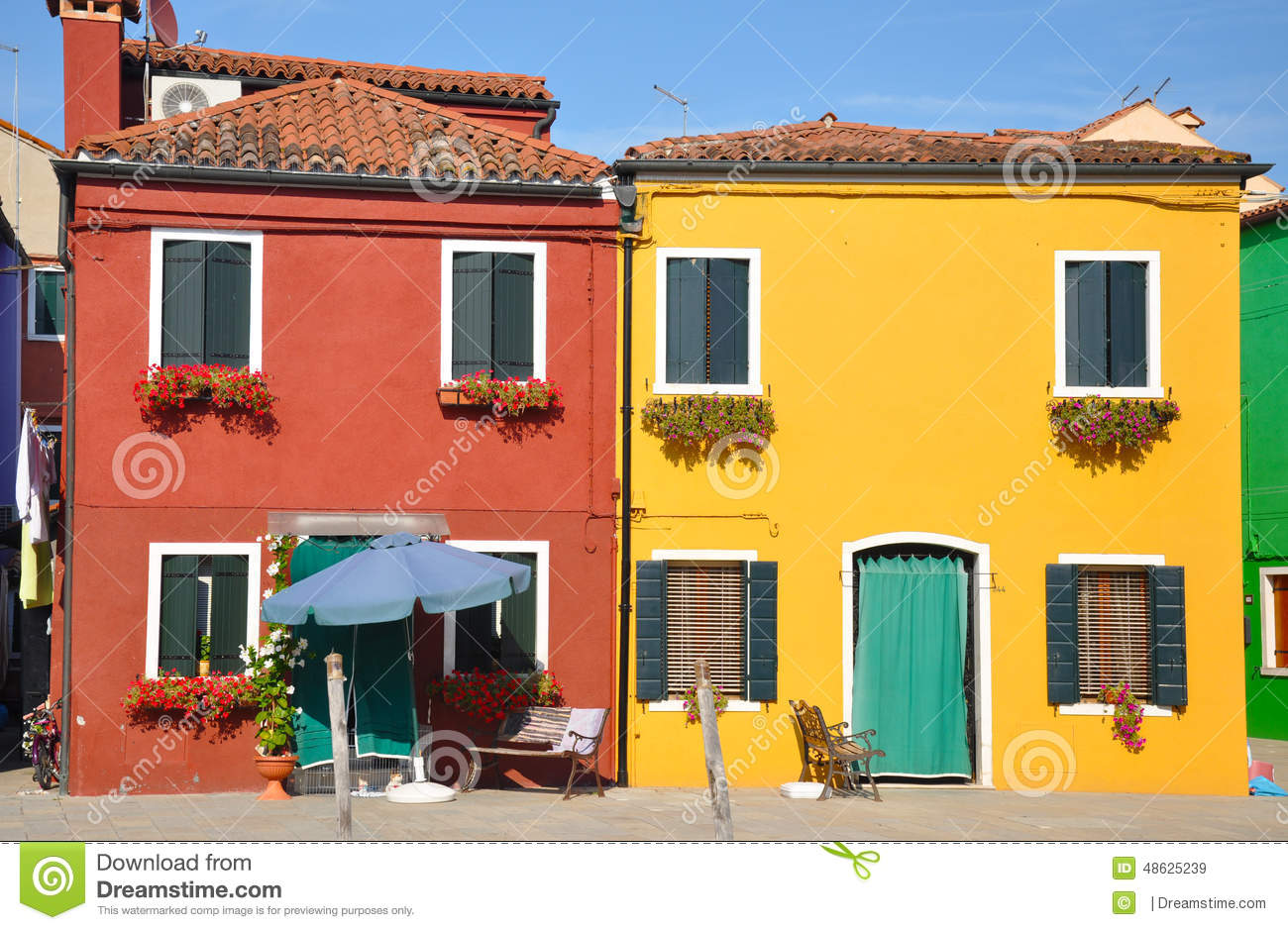 Colorful houses in burano italy stock photo image 48625239 for Yellow and red house