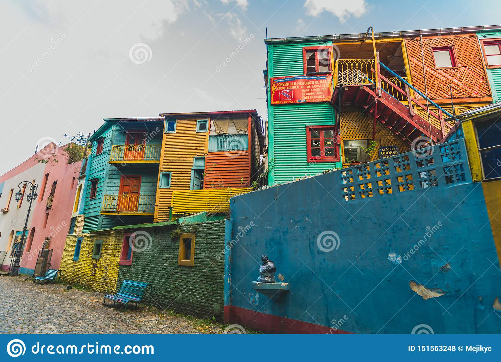 BUENOS AIRES, ARGENTINA - March 16, 2016: Colorful houses on Caminito street