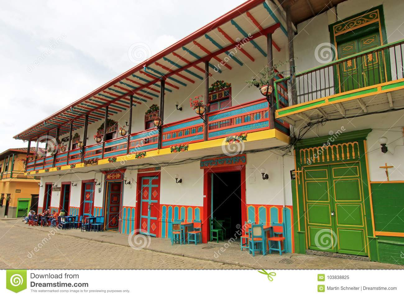 Colorful houses in colonial city Jardin, Antoquia, Colombia
