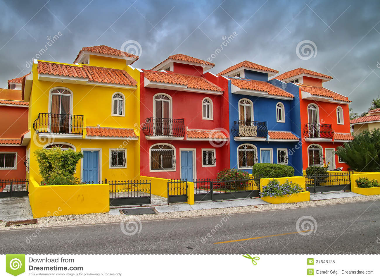 Colorful houses in the dominican republic stock image image 37648135 - Colorful house plans ...