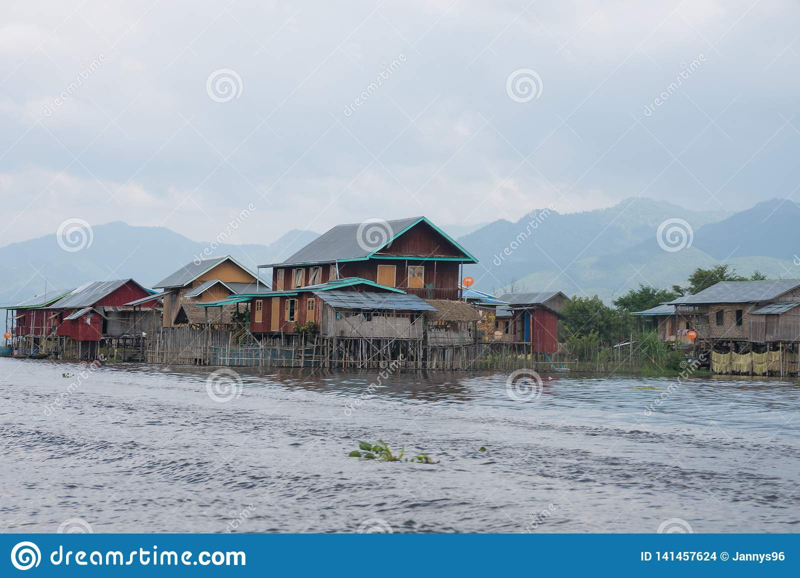 Colorful houses on famous inle lake in central myanmar