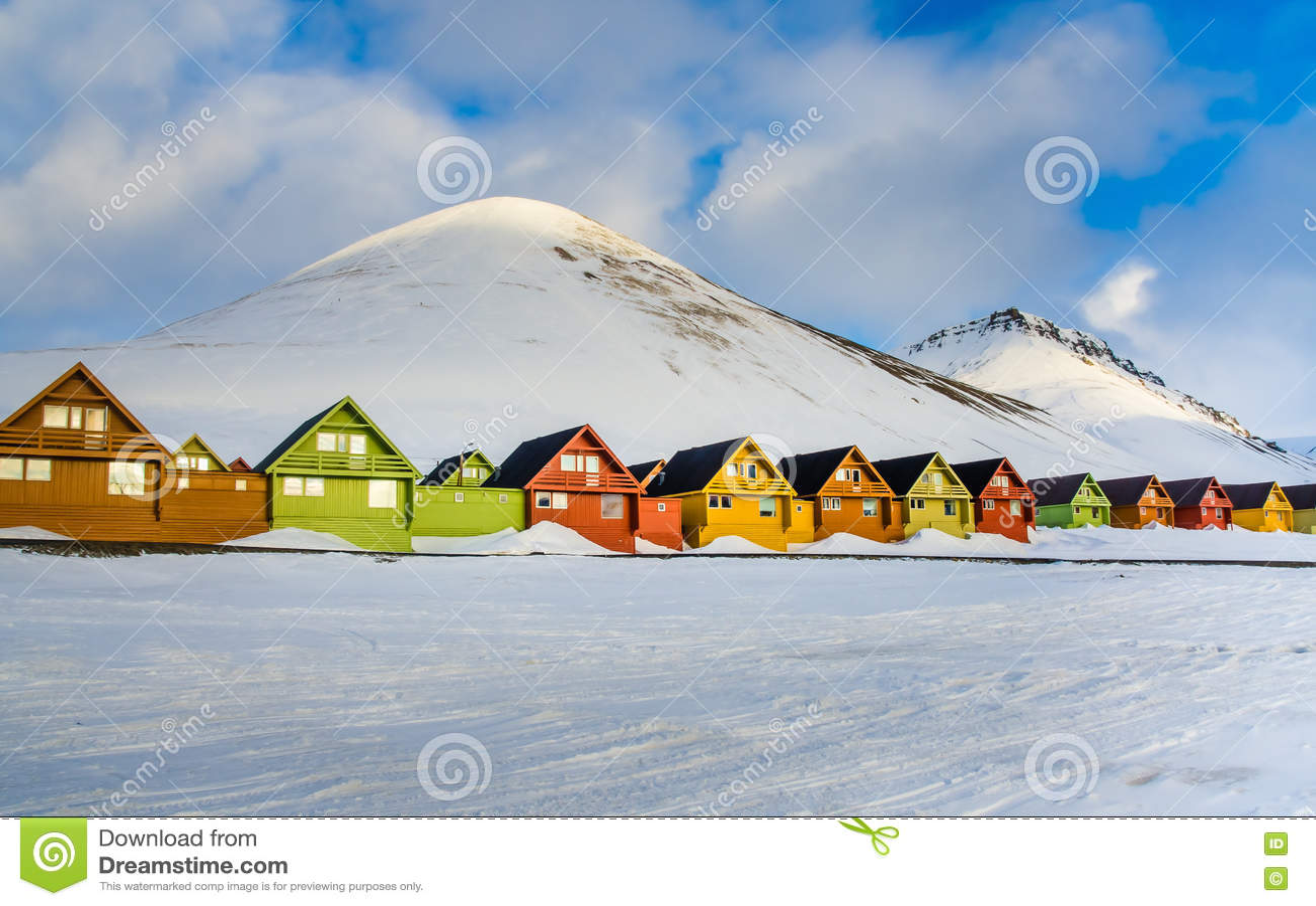 Colorful houses, Longyearbyen, Spitsbergen, Svalbard, Norway