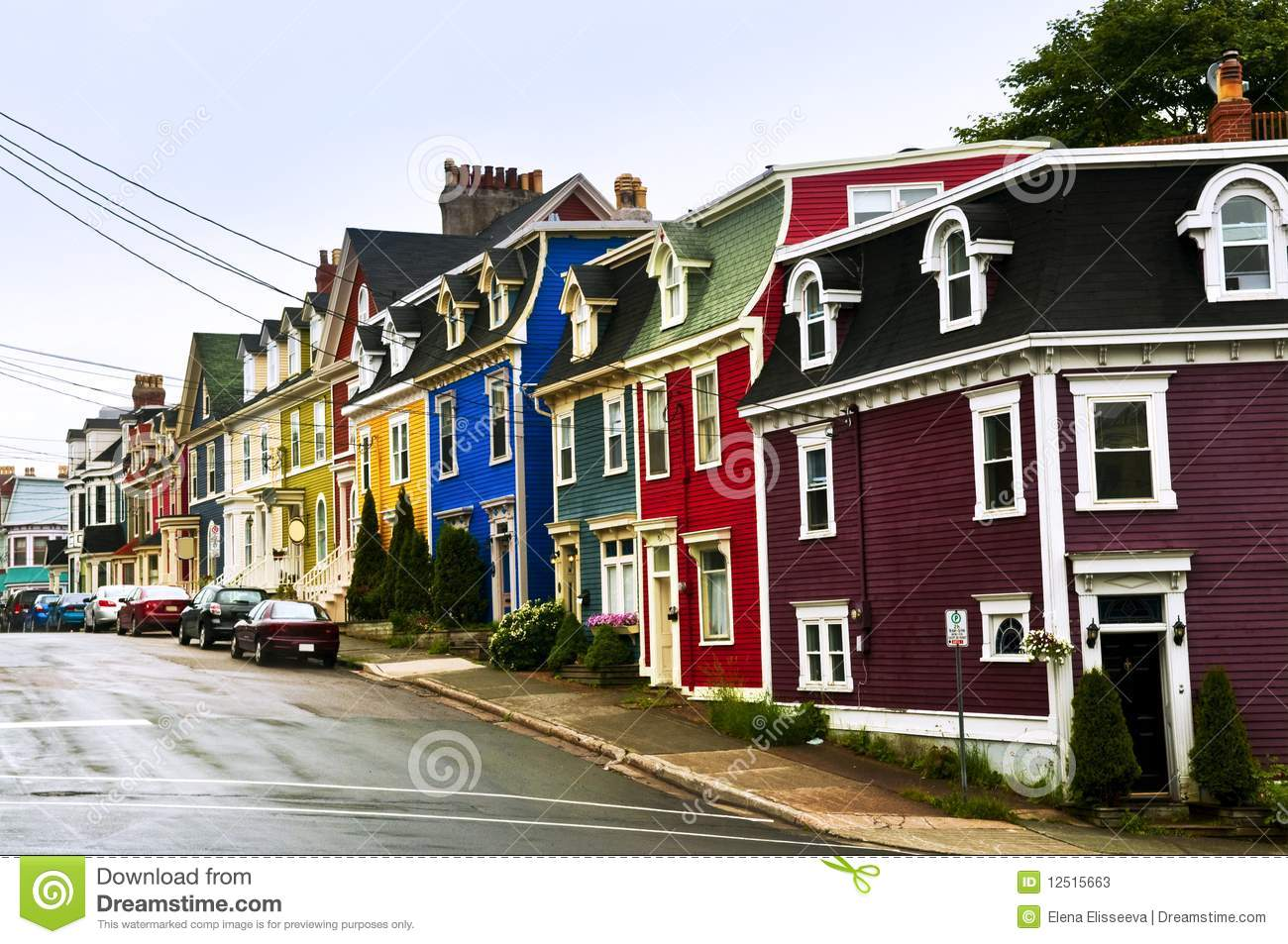 Colorful houses in newfoundland stock photos image 12515663 for Newfoundland houses