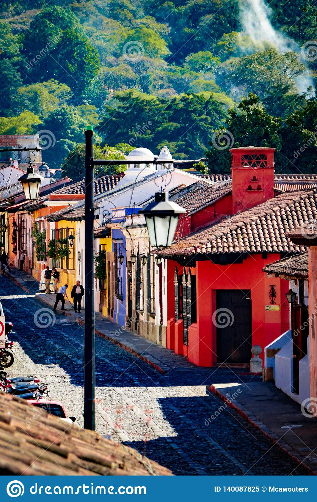 Colorful houses in old street in Antigua, Guatemala