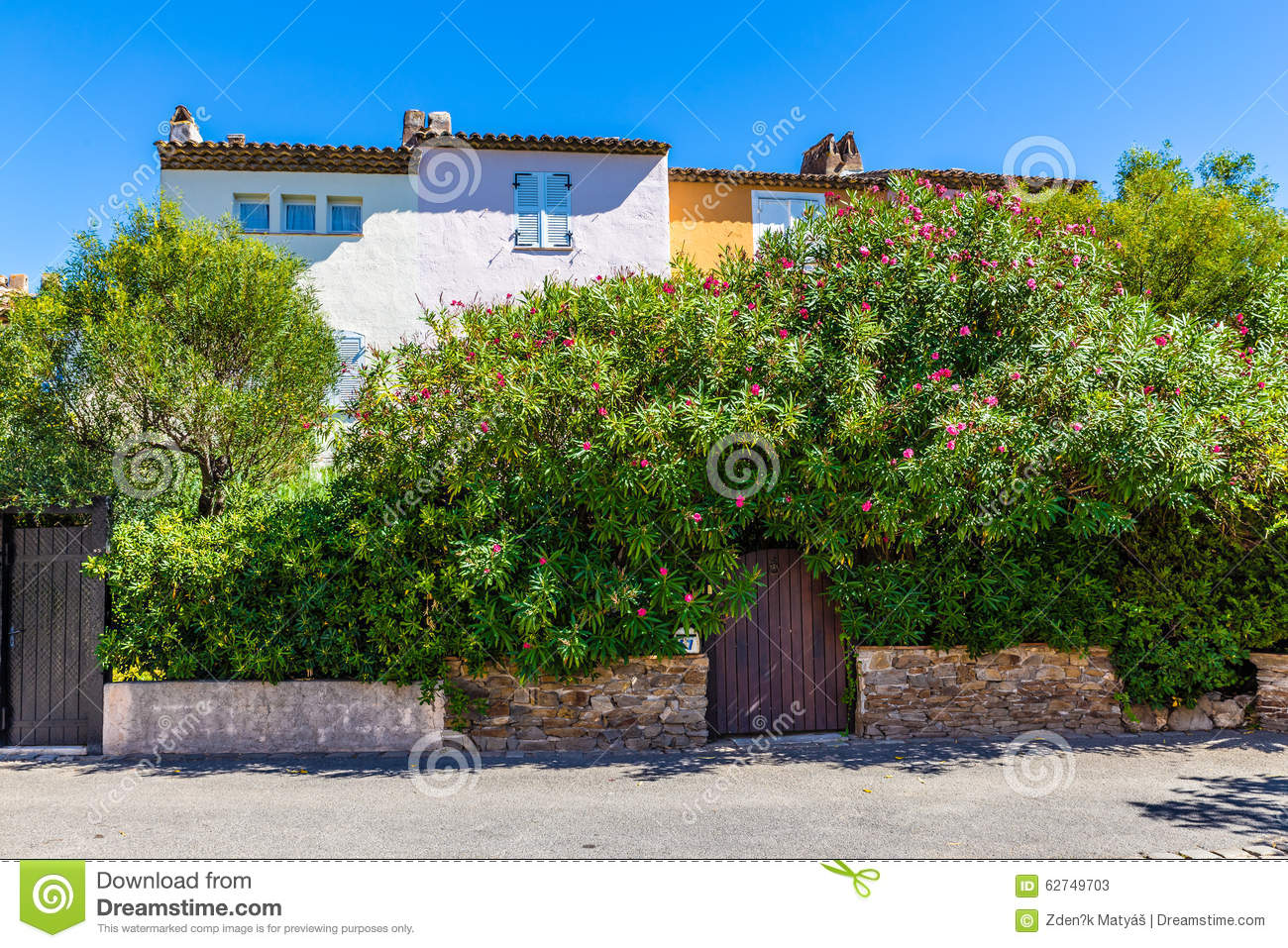 Colorful Houses And Plants In Port Grimaud-France