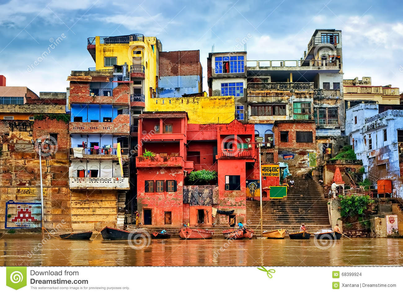 Colorful houses on river Ganges, Varanasi, India