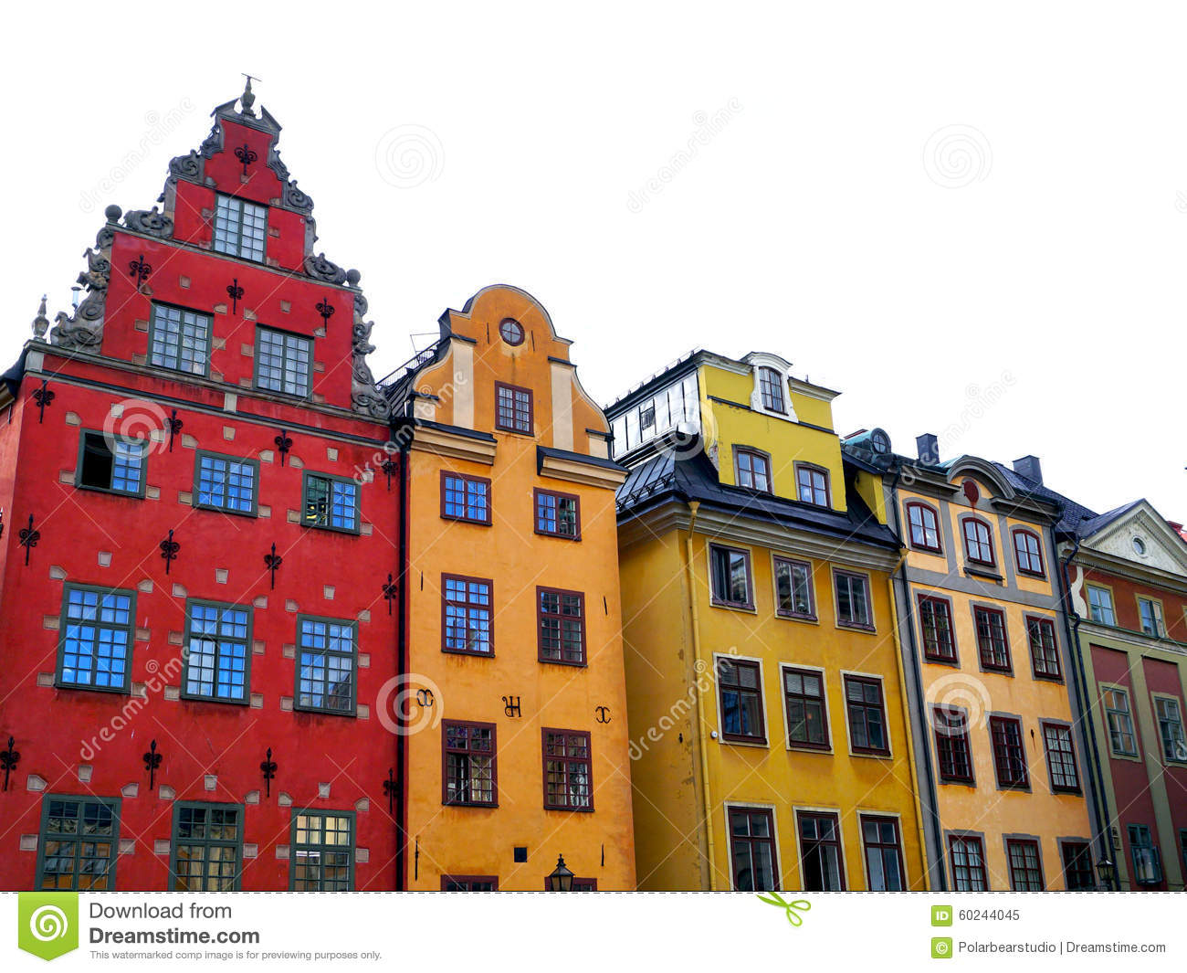 Colorful Houses In Stockholm Old Town City Stock Image