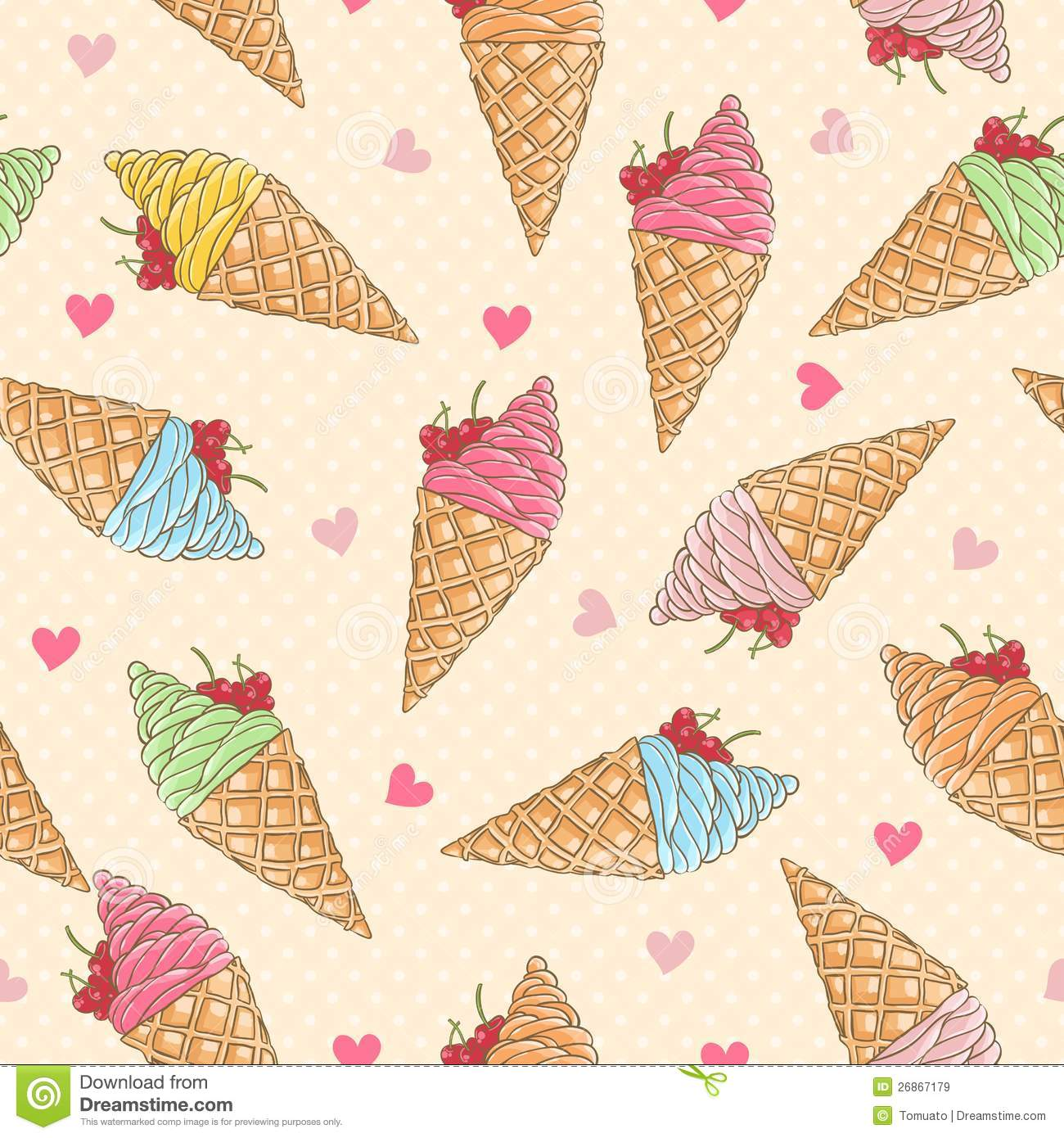 Seamless Ice Cream Wallpaper Royalty Free Stock Images: Colorful Ice-cream Seamless Pattern Royalty Free Stock