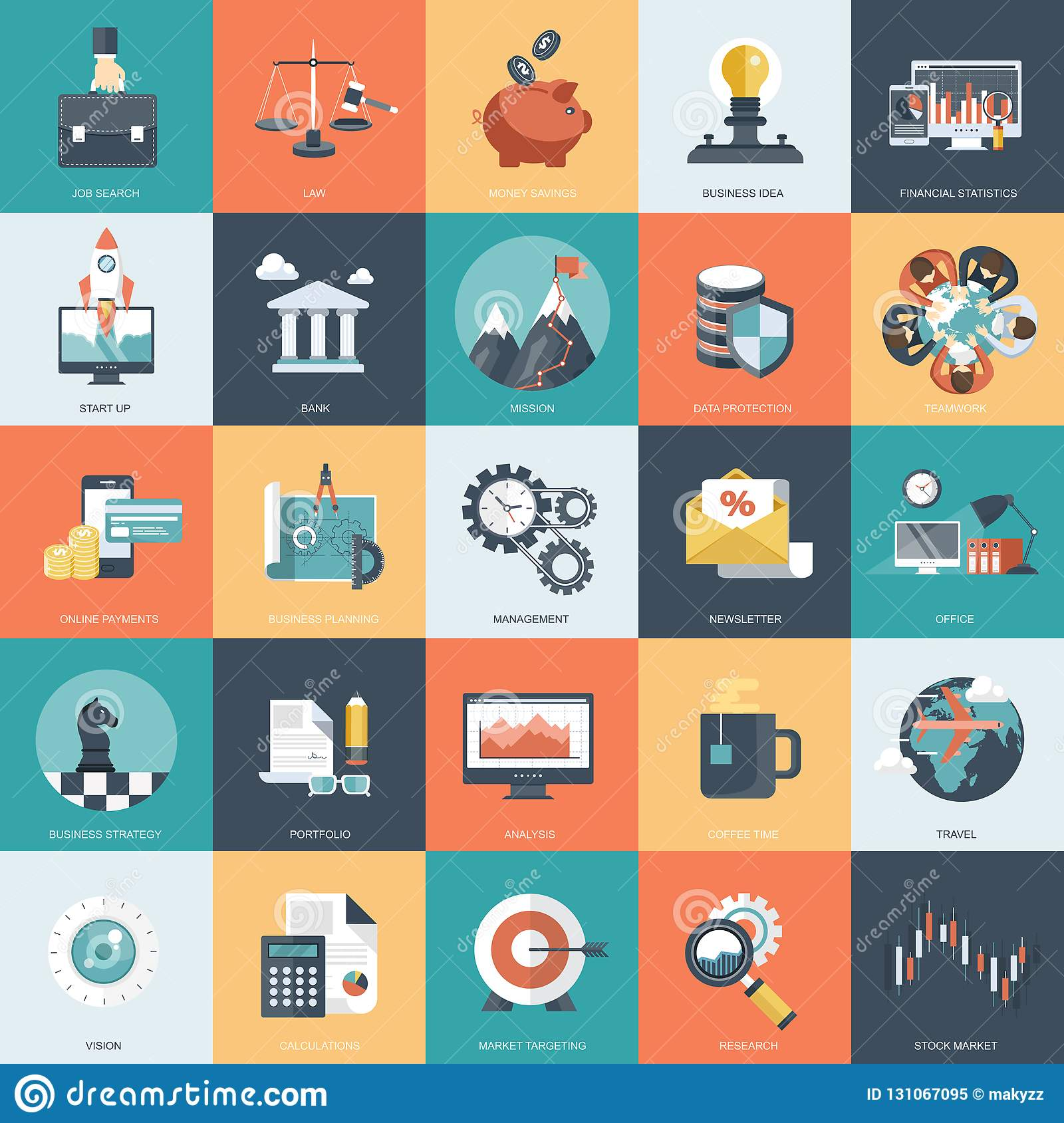 Colorful icon set for business, management, technology and finances. Flat objects for websites and mobile apps
