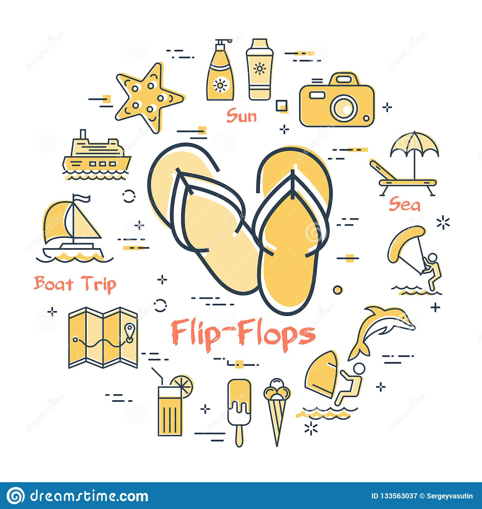 ce65fbec04870 Colorful Icons In Summer Holidays - Flip-flops Stock Vector ...