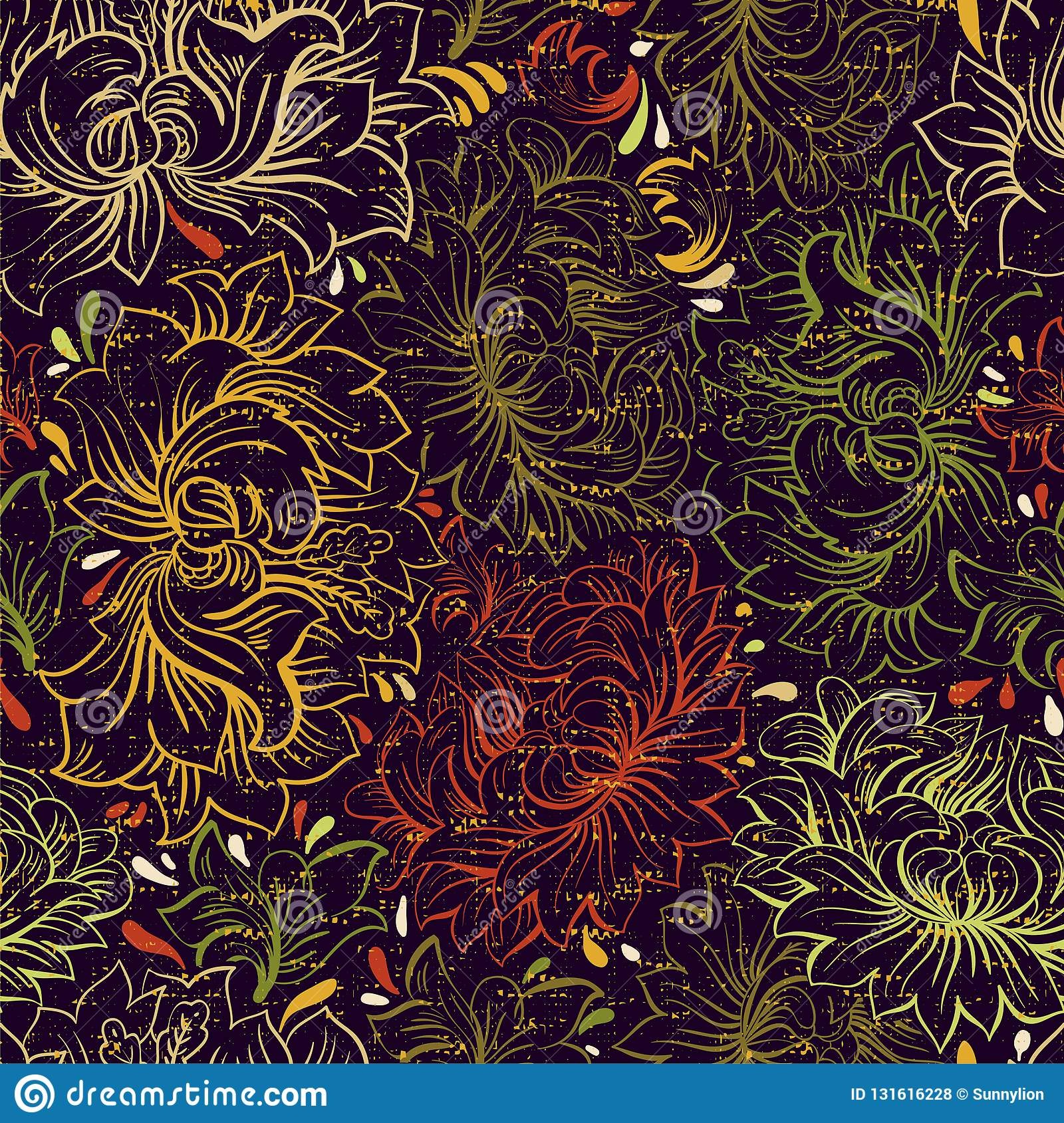 Colorful Illustration With Decoration Hand Drawn Flowers Dark