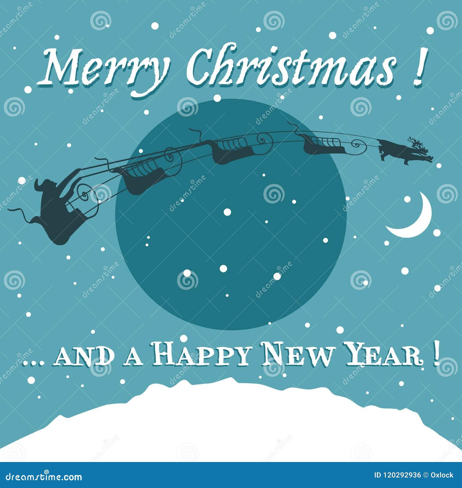 Christmas Card With Santa Claus On A Sledge Stock Vector ...