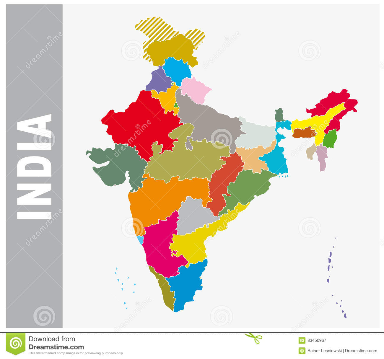 Colorful India Administrative And Political Map Stock Vector ...