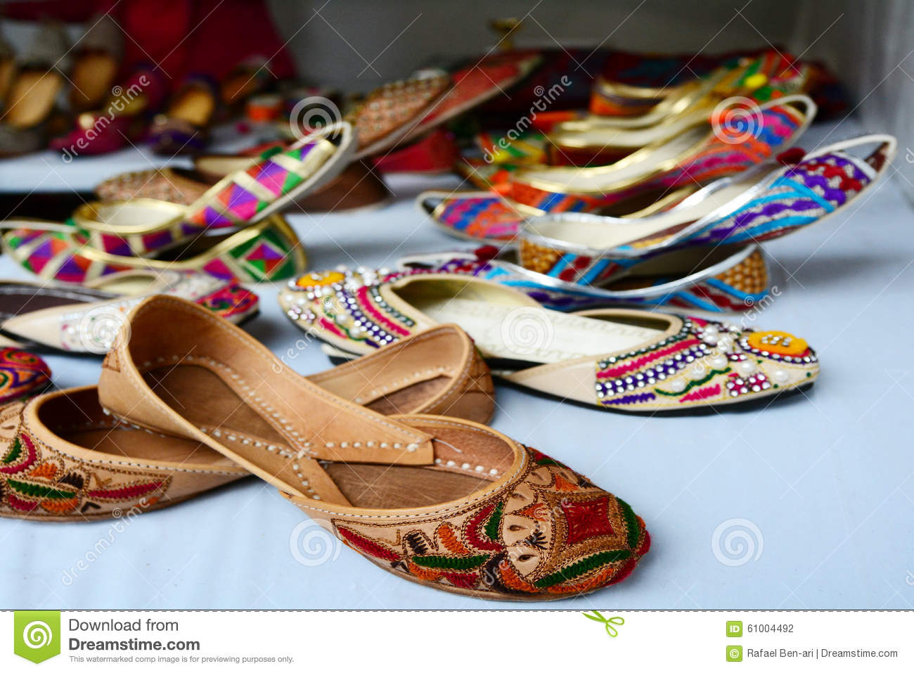 5f565a3ad5de Colorful Indian Ethnic Shoes Stock Photo - Image of footwear