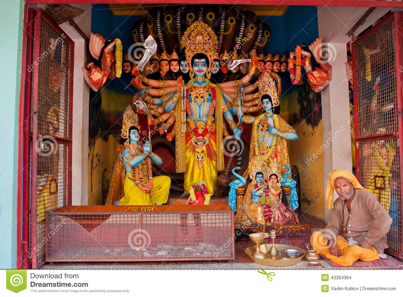 Colorful Indian Gods With Many Faces Editorial Stock Image Image 43364364