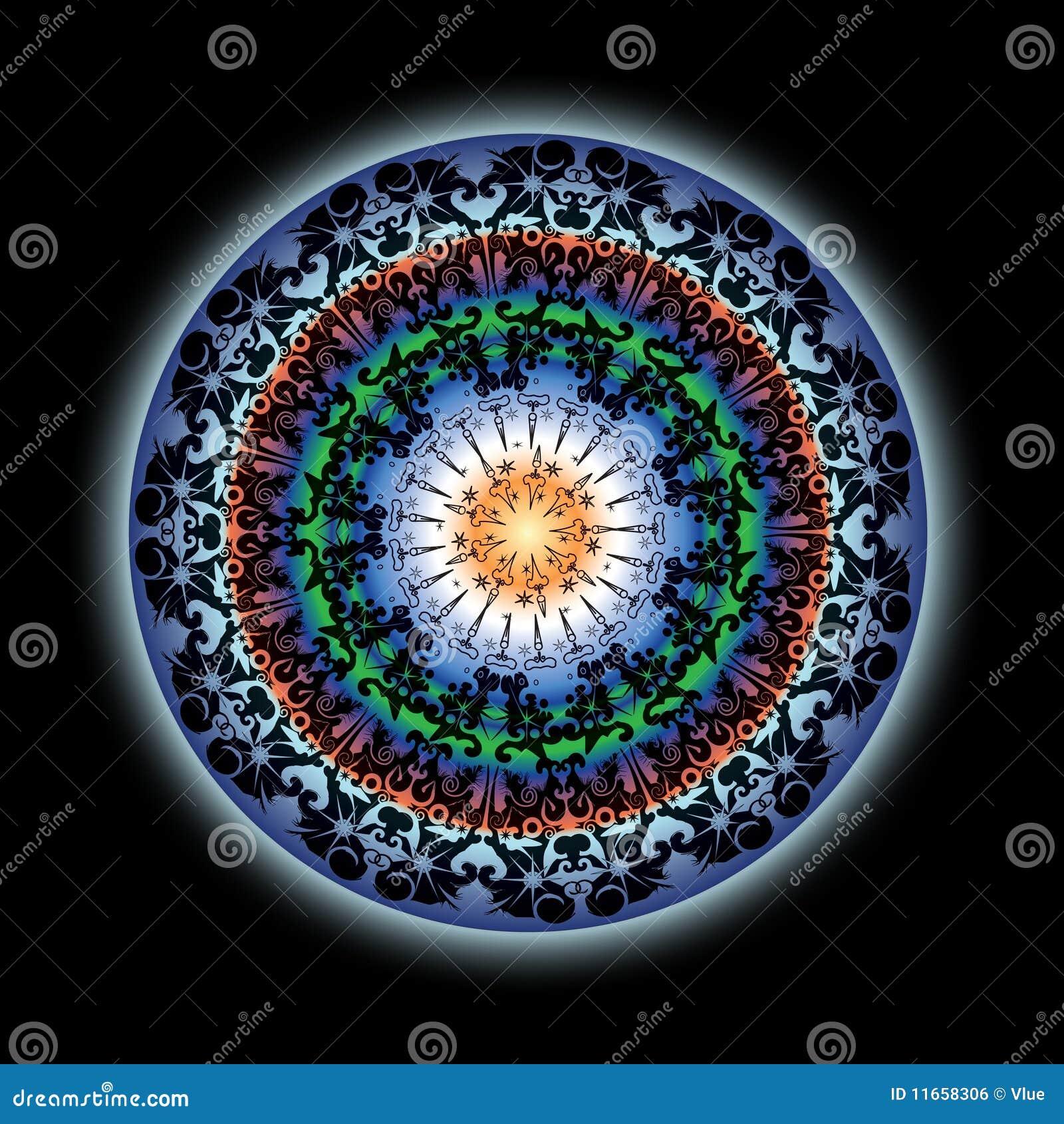 Colorful Indian Lotus Mandala Design Stock Illustration